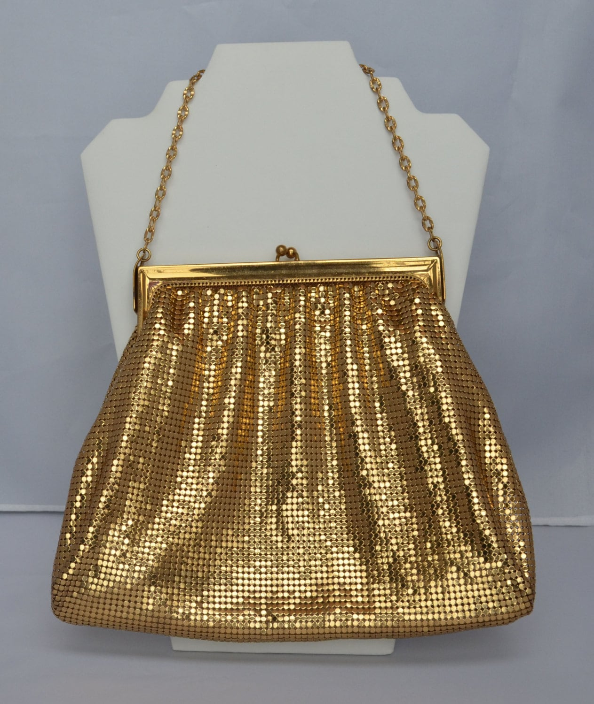 Glamorous Large WHITING DAVIS Gold Purse Mesh 1920sVintage $89.00 AT vintagedancer.com