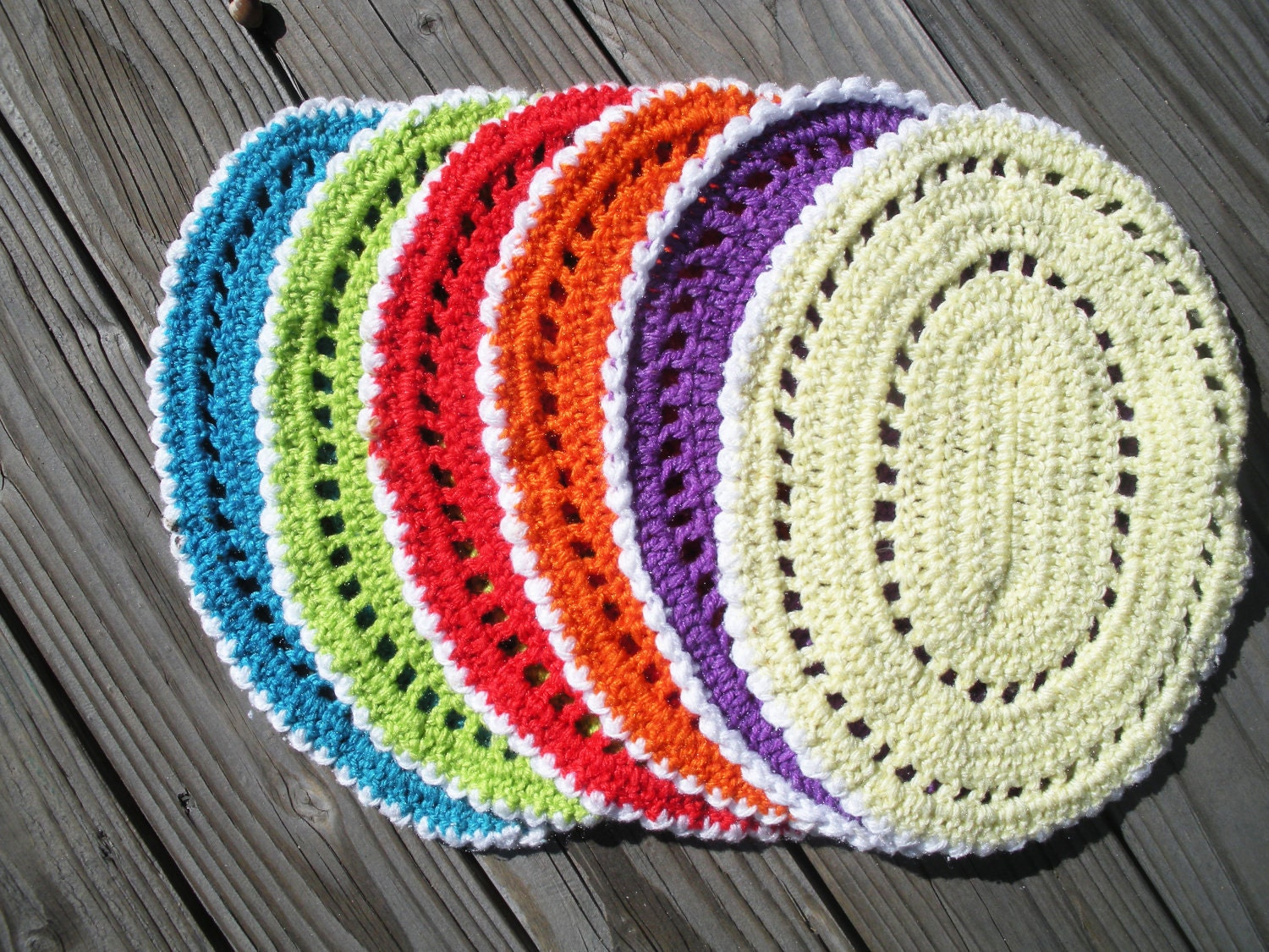 Crochet Pattern For Oval Placemat : Six 6 Bright Crocheted Oval Placemats by AirAndLove on Etsy