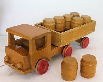 Vintage Wooden Lorry  Barrels Toys and Games Toys Push and Pull Toys Vehicles Toys for ChildrenSALE (1746E)