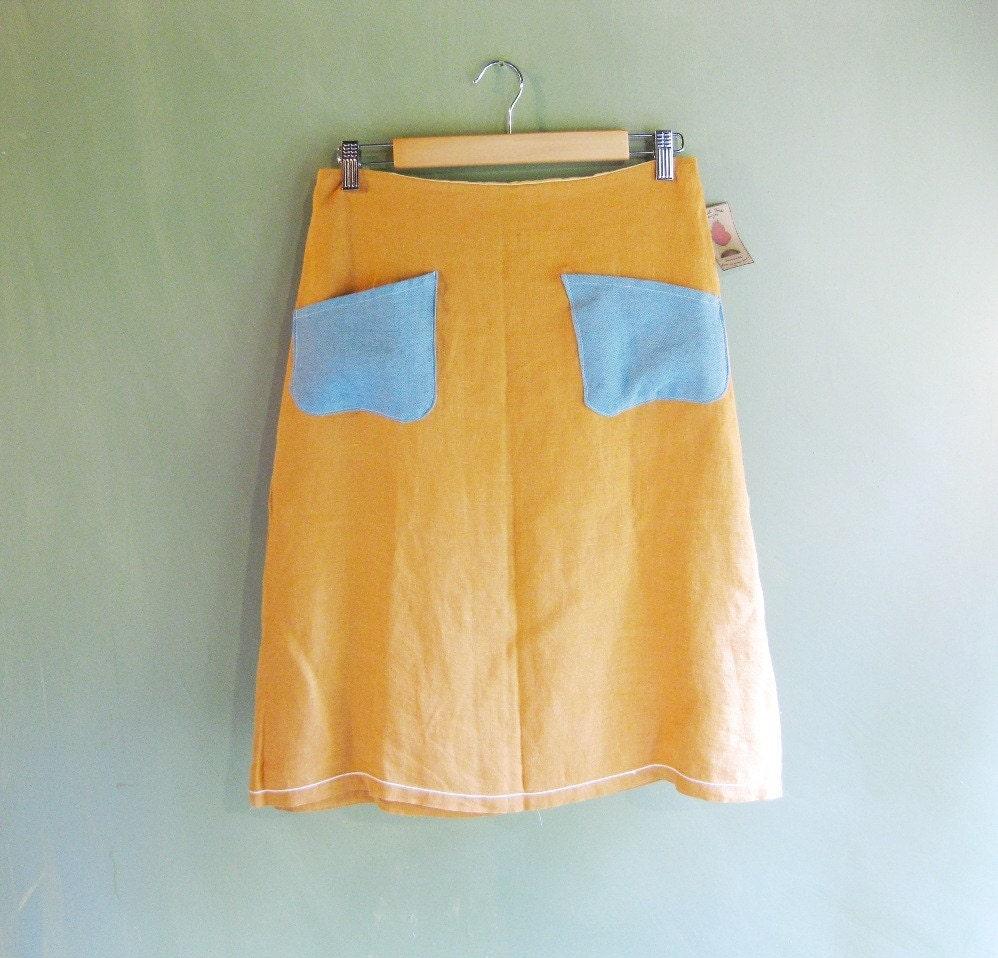 Eco friendly linen burnt-orange skirt - medium