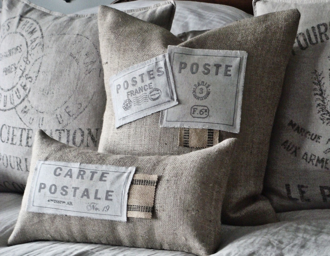 Set of two Burlap and Canvas Patch Pillow Slips