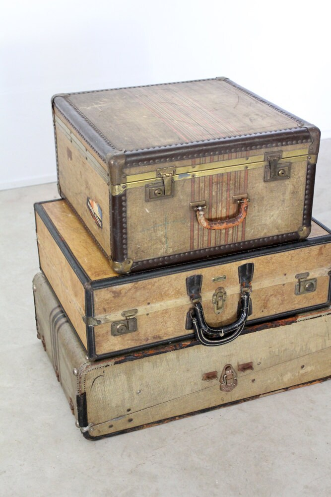 vintage 30s luggage / suitcase with travel hotel stickers / striped case - 86home
