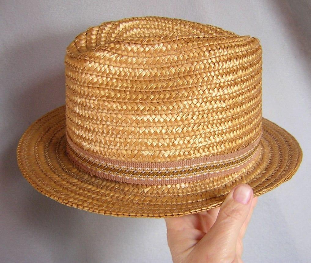 Cool Vintage  Mens Straw Hat  Fedora Style