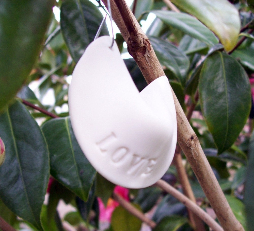Single Porcelain Fortune Cookie Ornament- LOVE