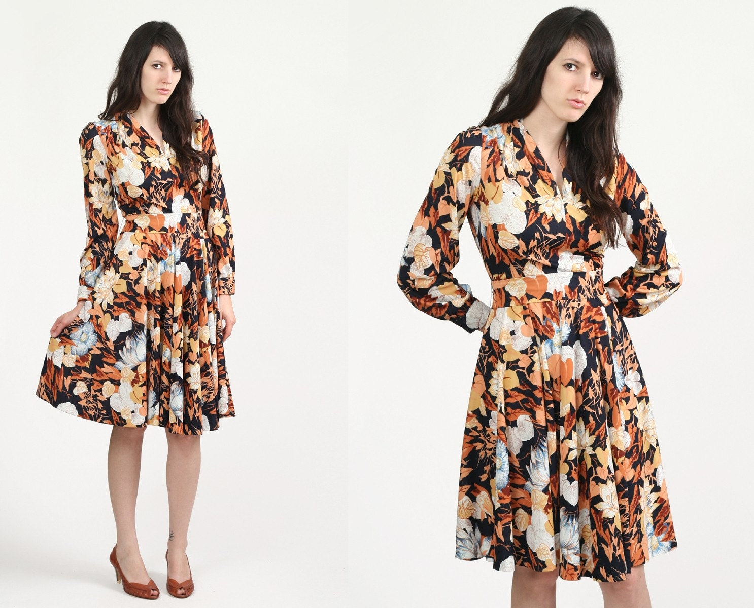 Vintage 70s Floral Leaf Print Day Dress M L