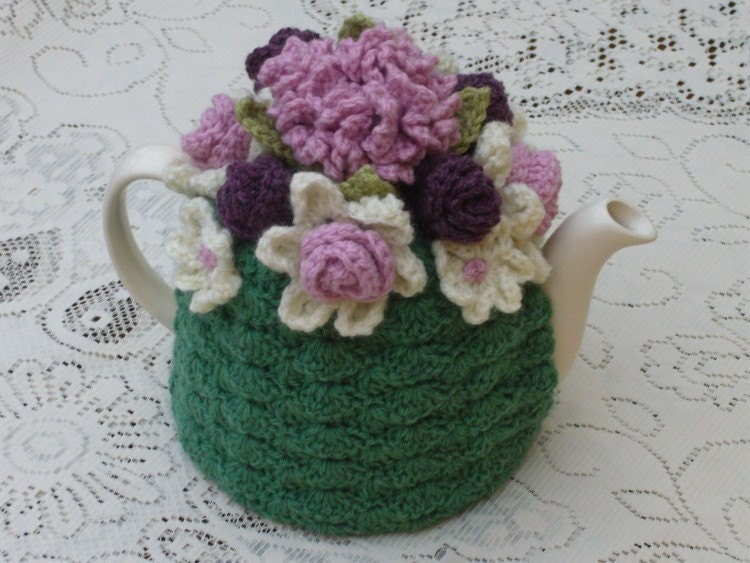 4-6 Cup Crochet Tea Cosy/ Tea Cozy/ Cosy/ Cozy  - Green with Dusty Pink and magenta flowers (Made to order)