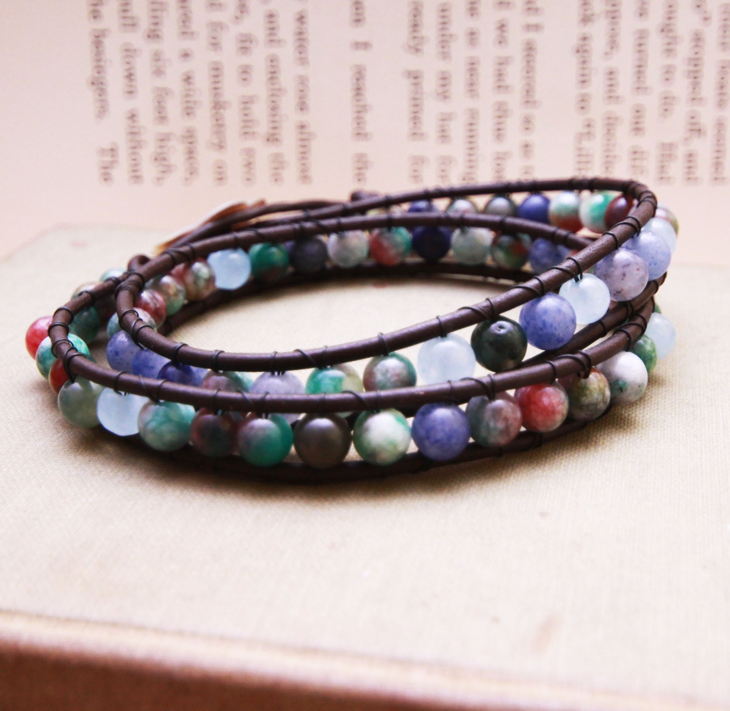 Mixed Stones Leather Double Wrap bracelet with Flower Clasp - For LARGER wrist - ScrapsandPaper