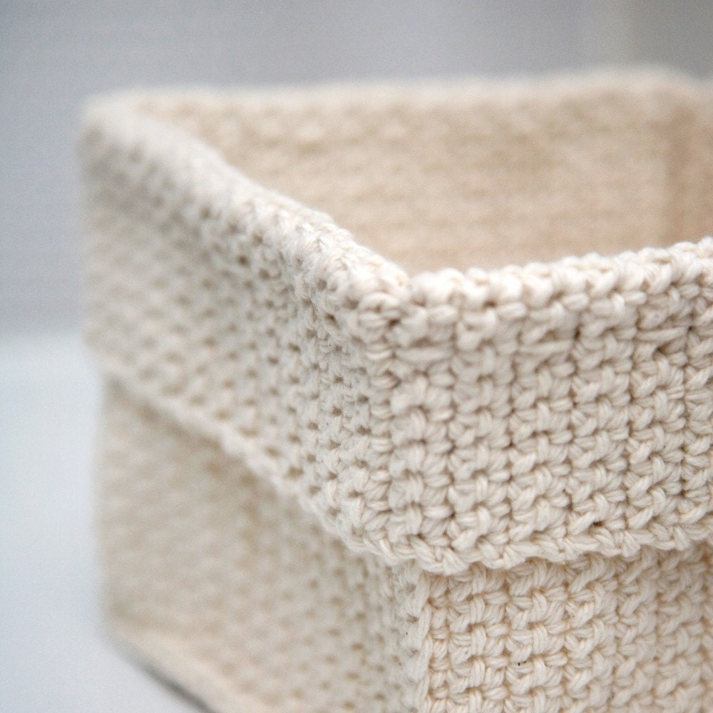 Crochet Rectangle Basket Pattern Free : Square Crochet Basket Natural by TheCreativeGene on Etsy