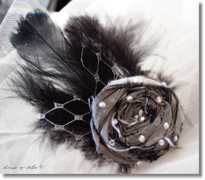 Mini Flapper...Pewter gray dupioni rosette, black feathers, silver veiling fascinator head piece by Houseoftelsa