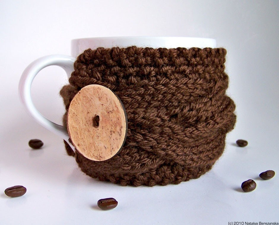 Brown Mug Cozy, Chocolate Cup Sleeve, Coffee Tea Fudge Mocha Acorn Cone Wood Woodland Russet Vegan, fresht fttt