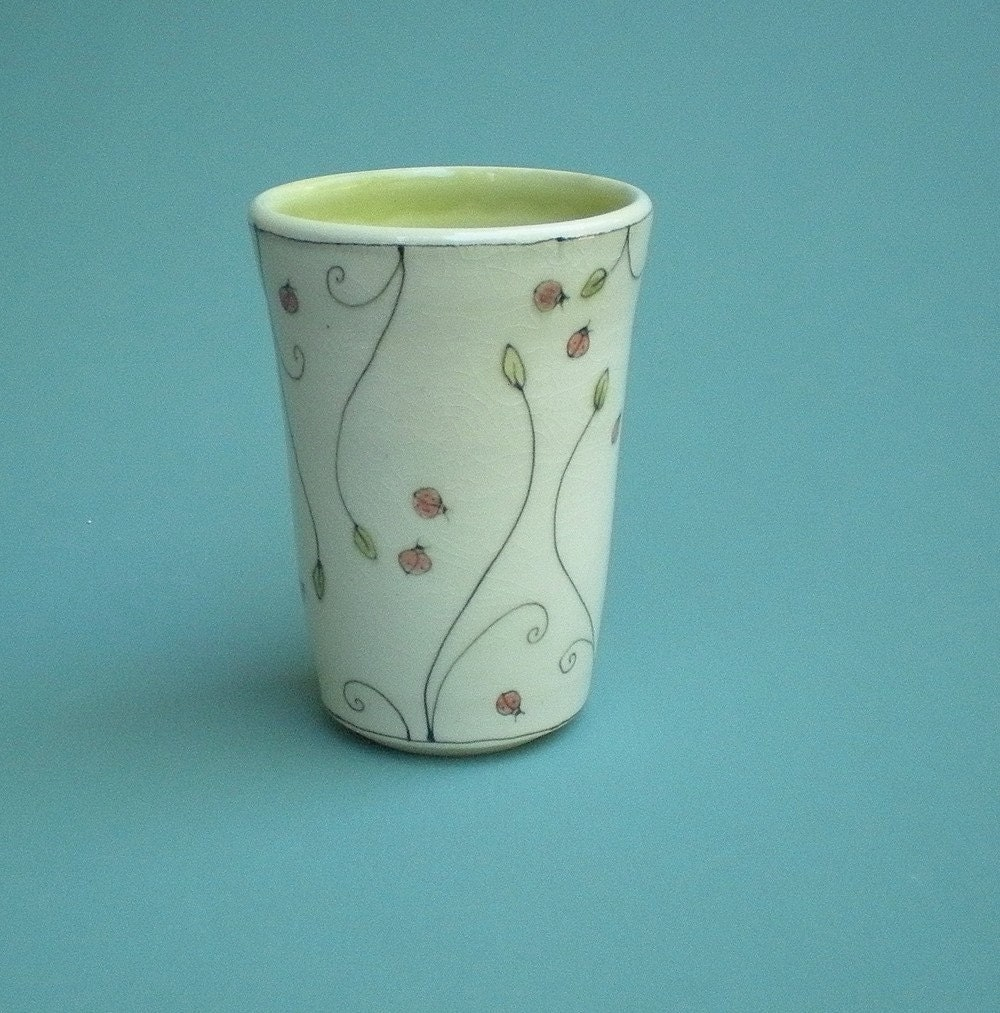 cup with ladybugs