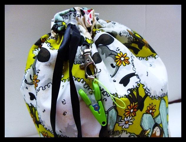 "Medium Knitting Bag ""Le baluchon"" Included : mini scissor"