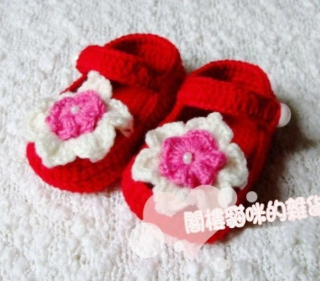 FREE SHIPPING 0-3 Months RED FLOWER mother gifts Booties B17