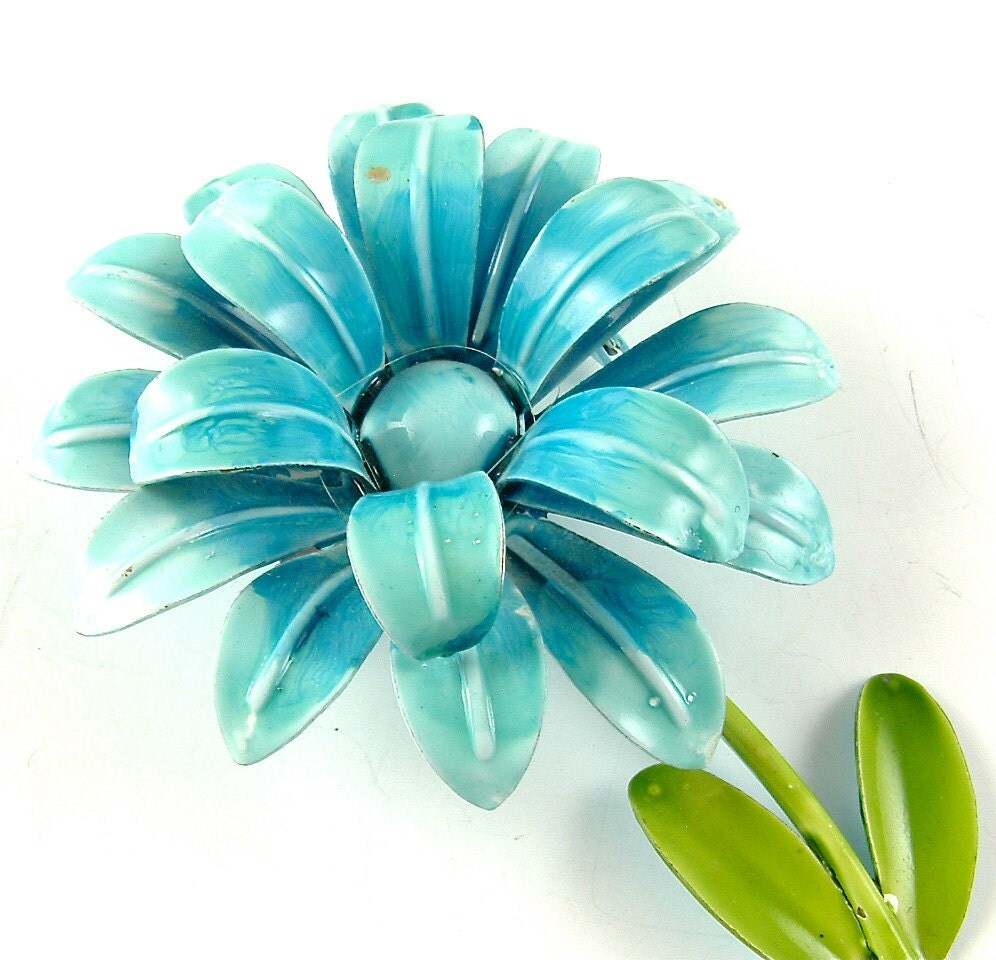 Vintage Flower  Brooch Turquoise Blue Curled Petal Layered Floral Brooch ((Free Shipping USA))