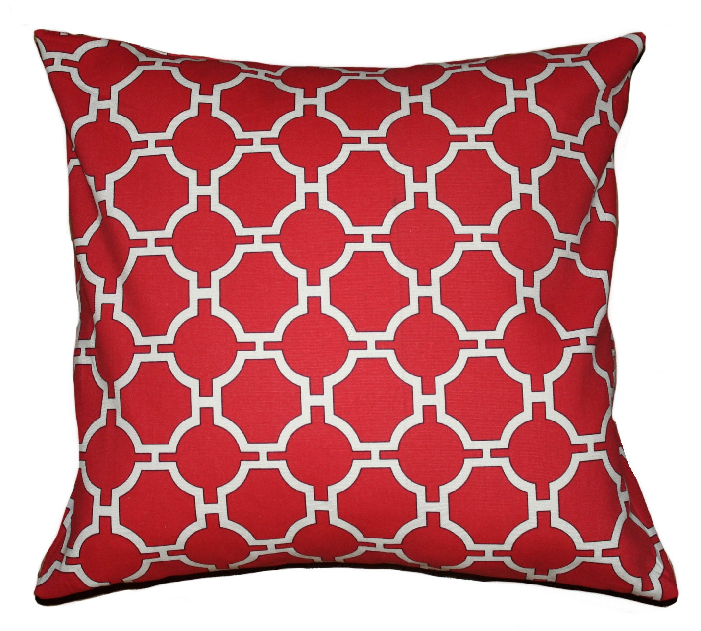 "Red Pillow Cover Geometric Pattern   20"" x 20"" - Crackerbox"