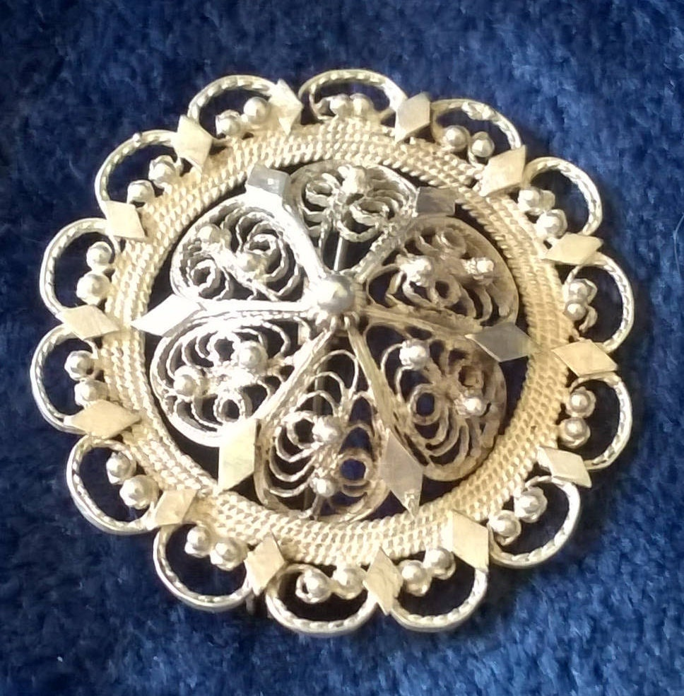 Silver Brooch Filigree Brooch Antique Silver Silver Jewellery Silver Wedding Anniversary Gifts for Her