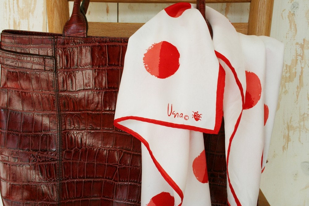 Lovely white Vera ladybug scarf with two tone red jumbo polka dots