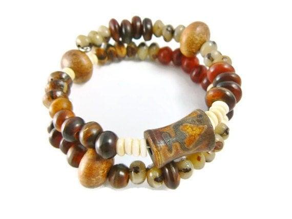 Ethnic Bracelet, Stack Bracelet, Bracelet Stack, Organic Earthy Bracelet - GemstonesOnMyMind