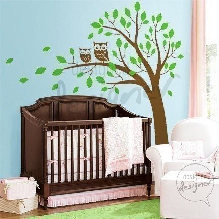 Removable Vinyl wall sticker decal Art - Owls on Big Tree - dd1039 - Nursery Baby Kid