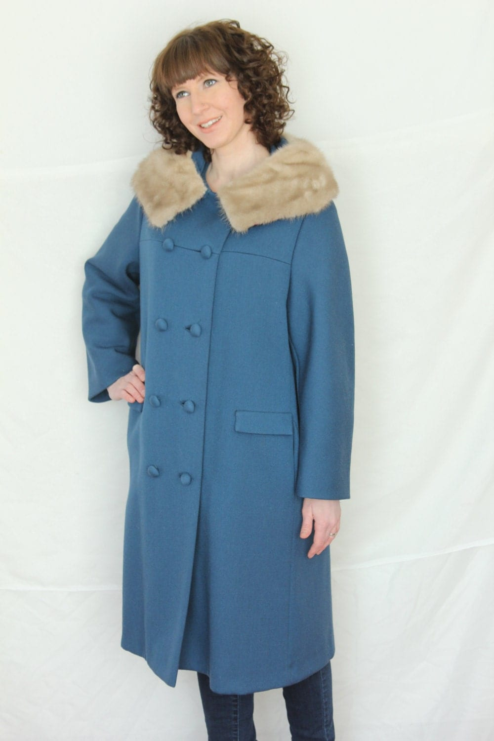 Vintage Double Breasted  Woman's Blue Wool Coat with Fur Collar - foundundertheeaves