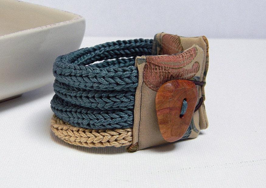 Хлопковая пряжа браслет QUATTRO 001 - темно-зеленой водой и песком - один из вида и готово к отправке