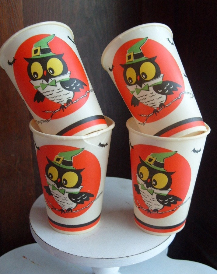 Vintage Paper Halloween Cups with Owl Witch and Bats - TOO CUTE