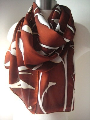 Russett Meadows hand painted silk satin scarf