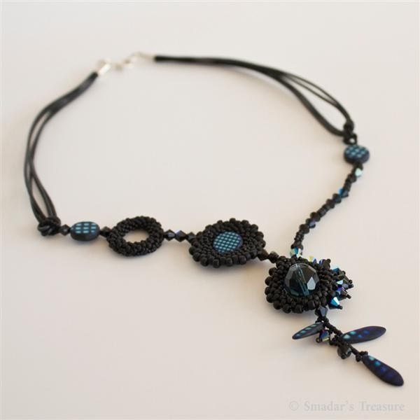 Unique Asymmetrical Black and Blue Necklace