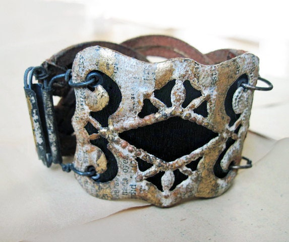 What I Was. Woven Leather Cuff with Papered and Foiled Focal Buckle. Rustic Victorian Assemblage.