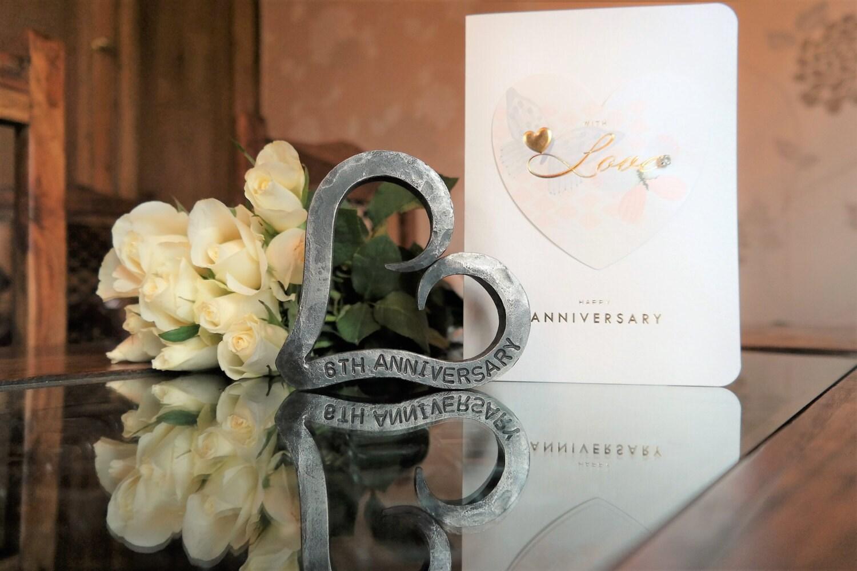 6th Anniversary Heart  Iron Anniversary  Personalized Anniversary Gift  Valentine  Wedding  Blacksmith Made
