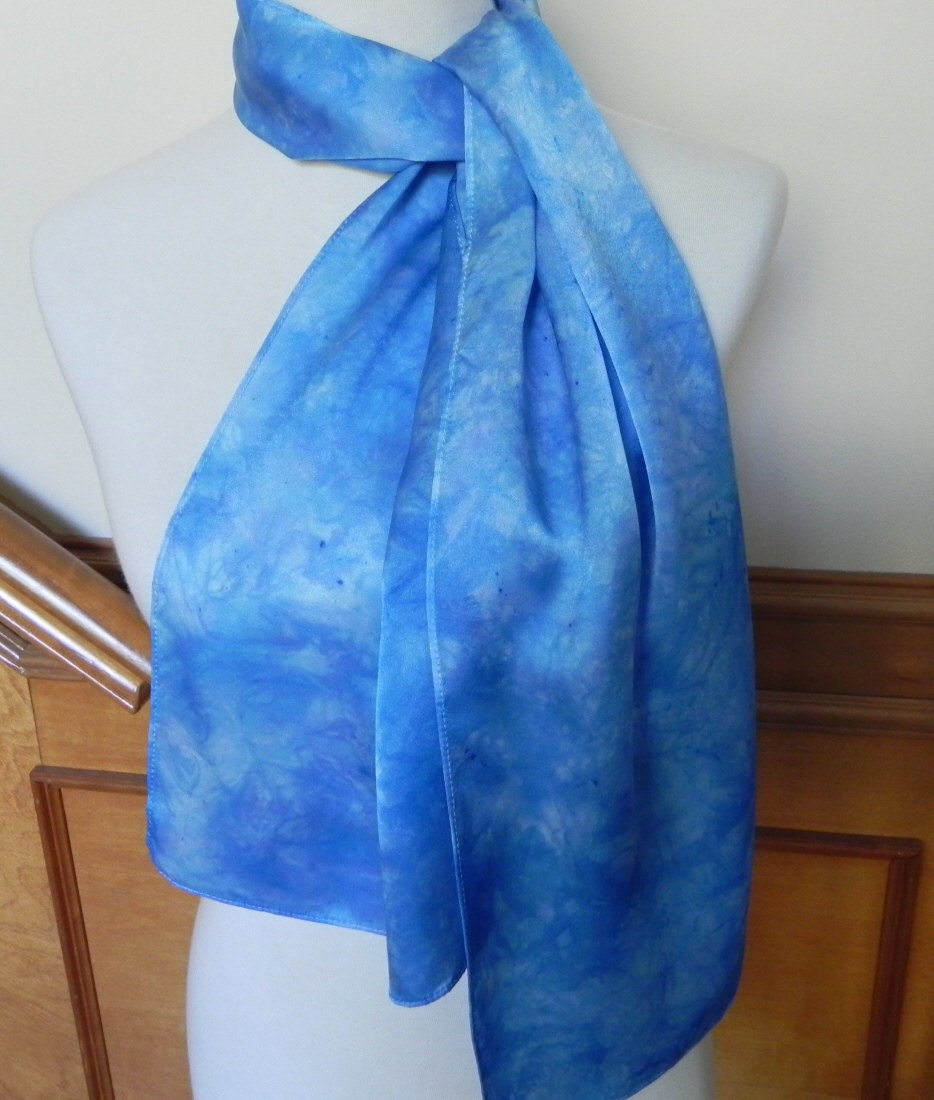 Silk Satin Scarf Hand Dyed Shades of Blue and Lavender, Long Silk Scarf, Ready to Ship - RosyDaysScarves