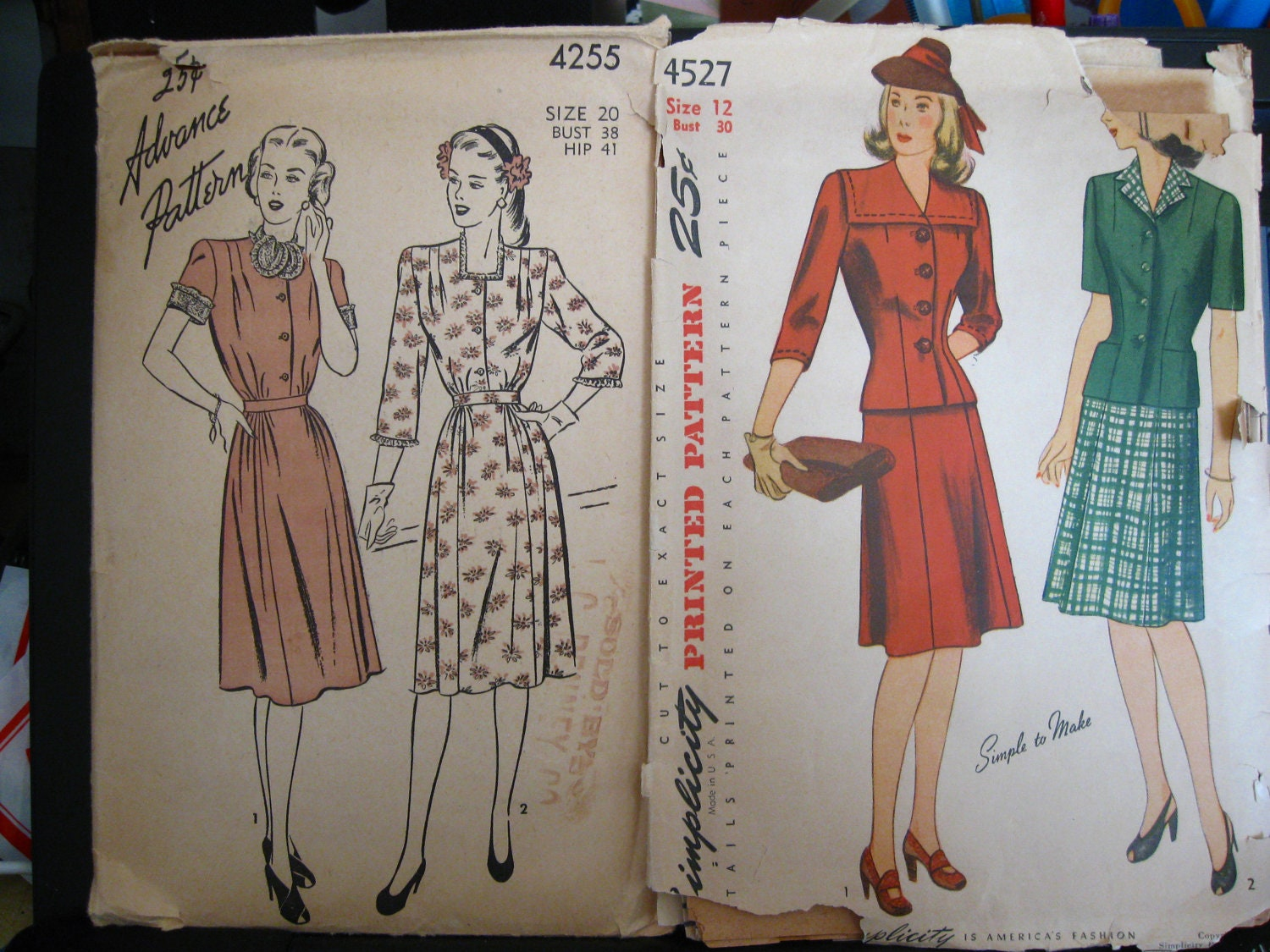 Vintage 1940's Women's Clothing Patterns Robes, Dresses, Shirts