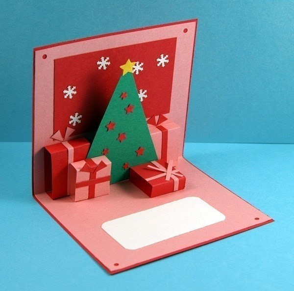 Red Christmas Holidays Pop up Card