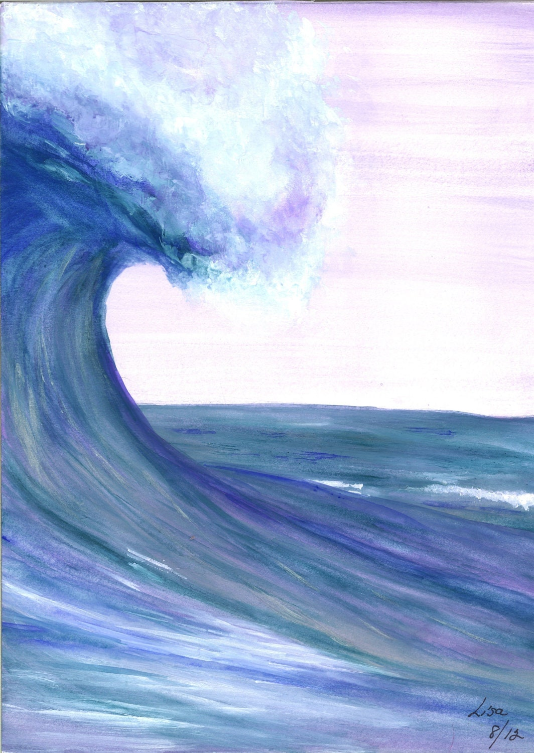 Items similar to ORIGINAL Watercolor Painting - OCEAN WAVE ...