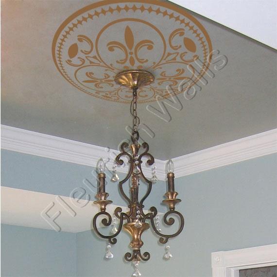 Ceiling medallion vinyl ceiling decal shabby by fleurishwalls - Shabby chic lighting fixtures ...