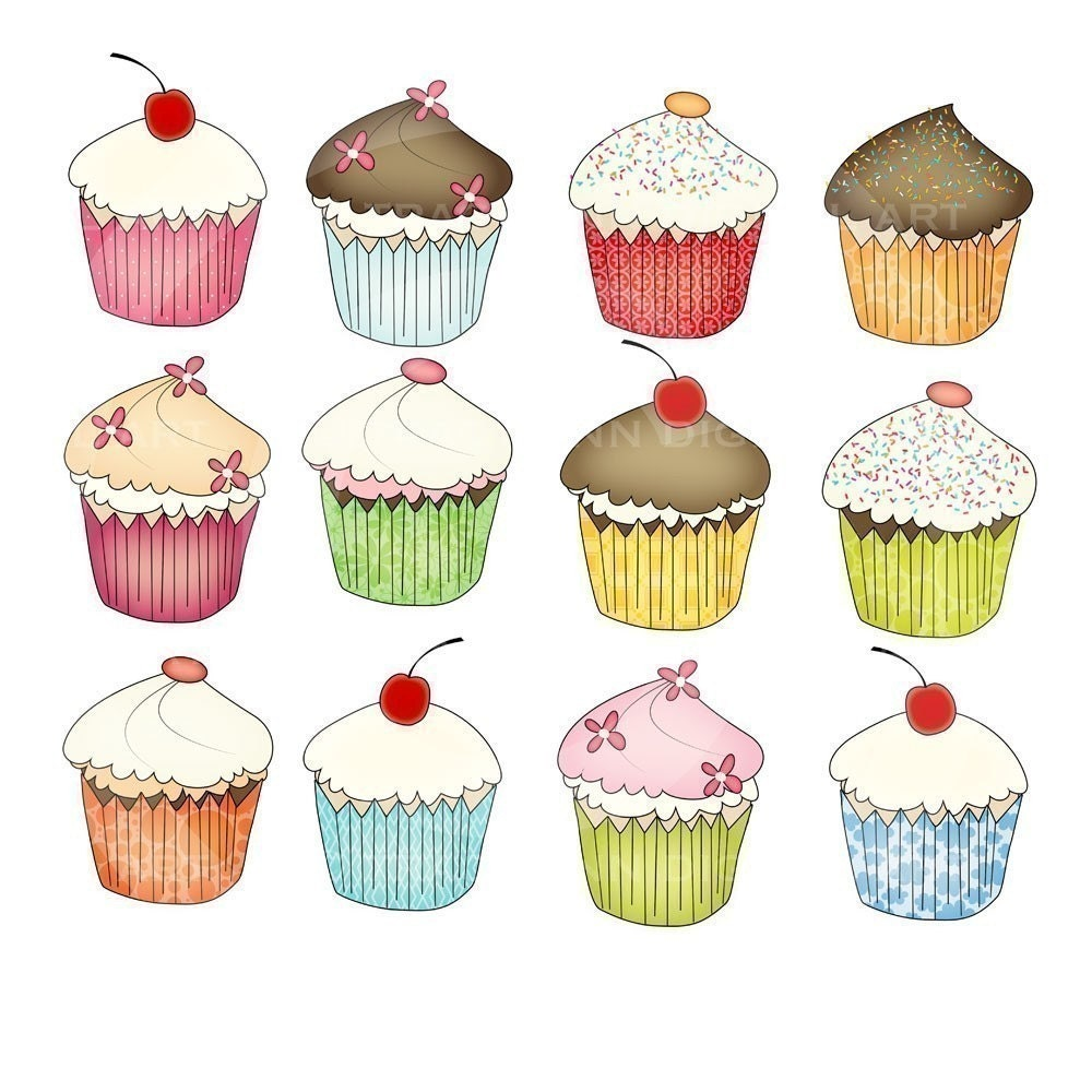 Cupcakes for commercial and personal use. Scrapbooking, cards, invites and more.