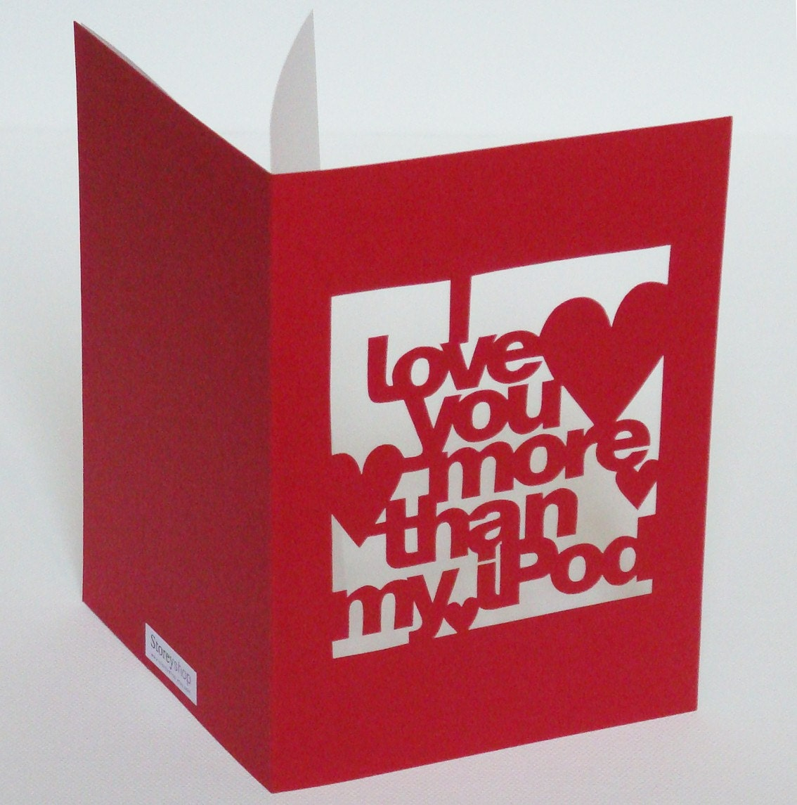 Hand-Cut 'I Love You More Than iPod' Card