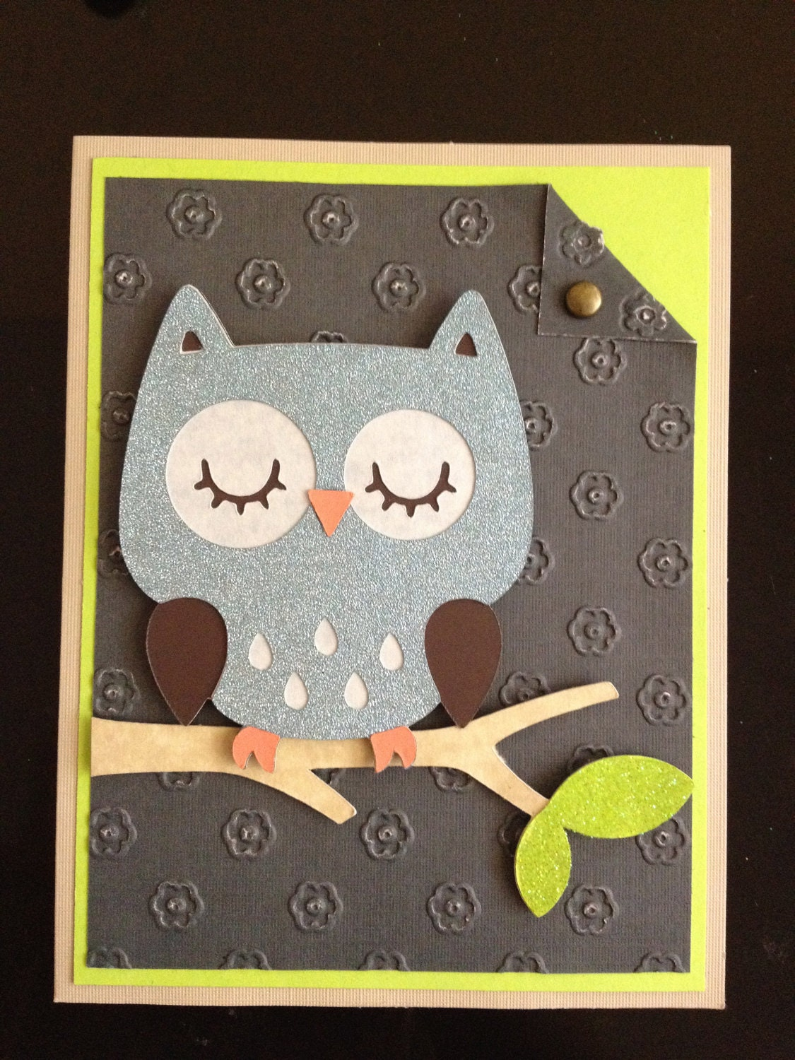 handmade owl greeting card
