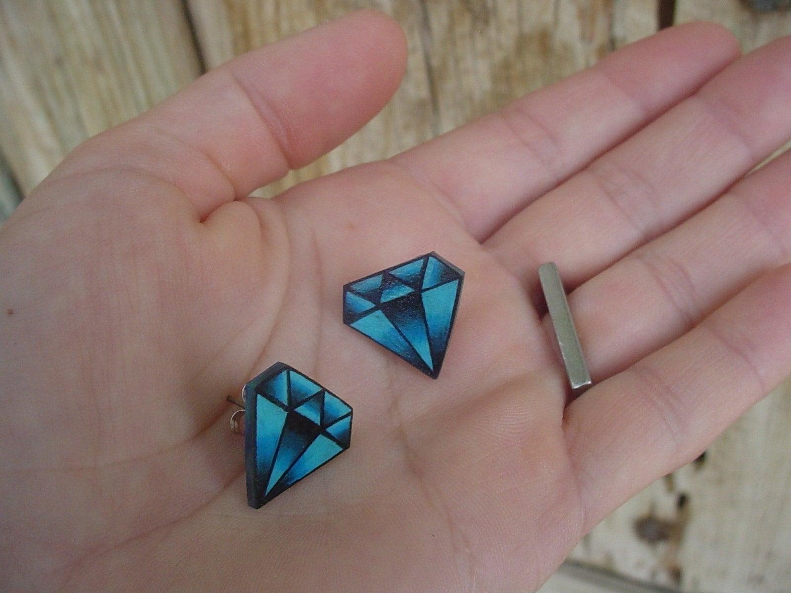 Vintage Tattoo Diamond Earrings (silver plated studs posts) september sapphire  gem birthstone