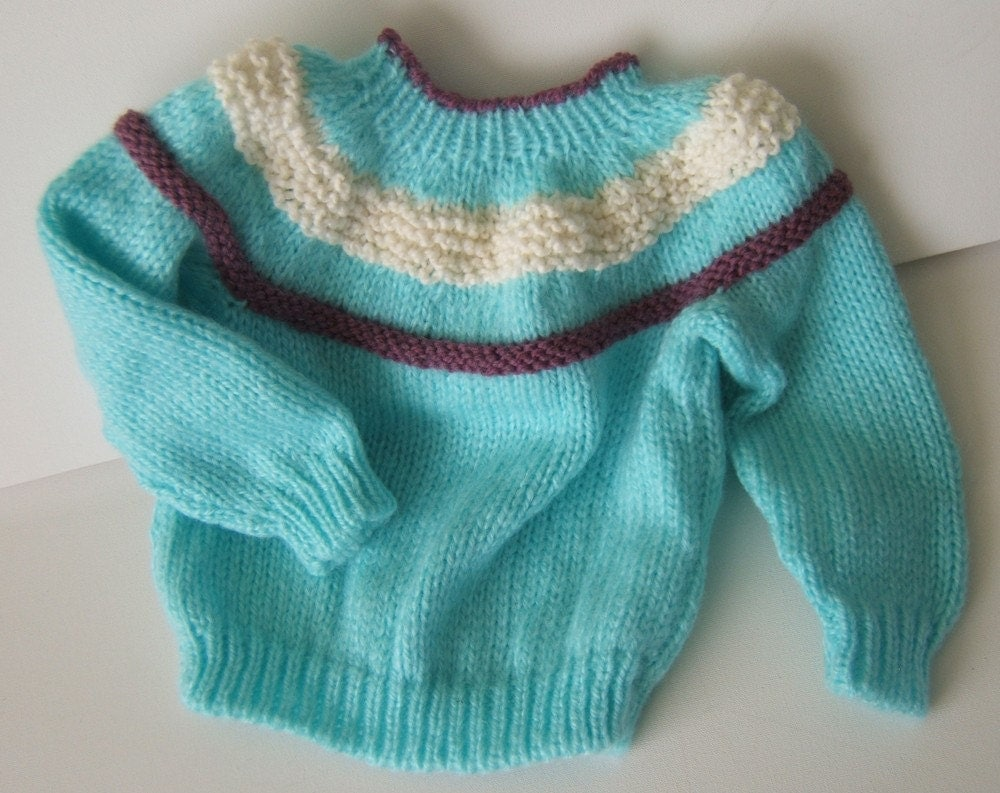 Light blue pullover sweater hand knit (((FREE SHIPPING)))
