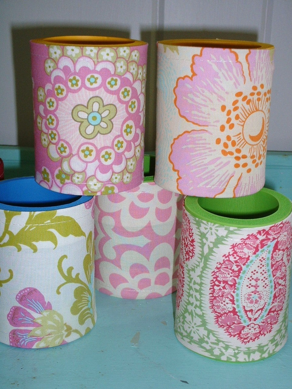 Preppy Pink and Green Can/Cup Koozies --