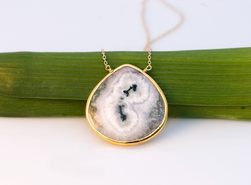 Faceted Bezel set Solar Quartz drop in 22k Gold Vermeil Necklace