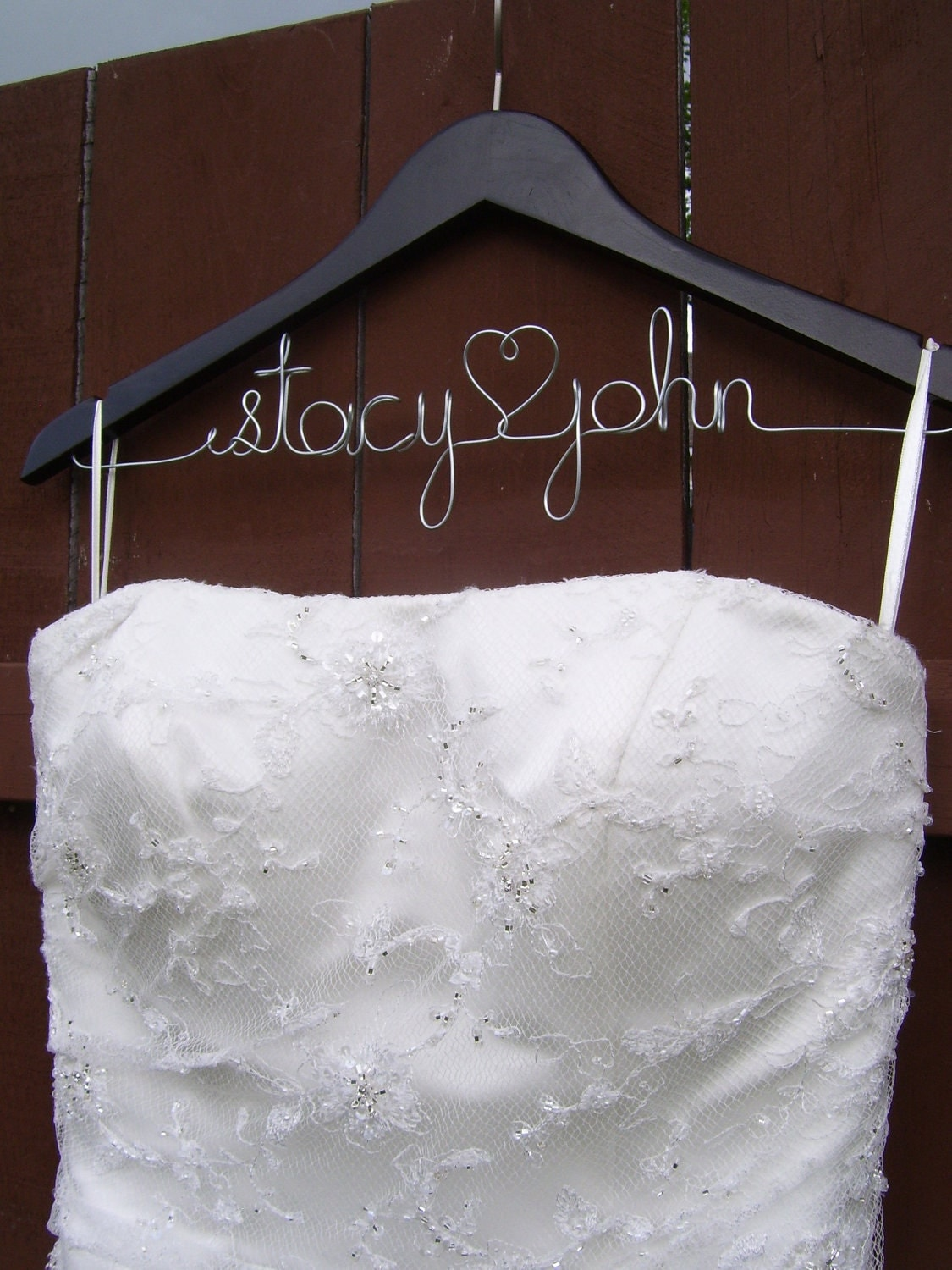 Wedding dress hanger bridal wedding hanger by for Personalized wedding dress hangers