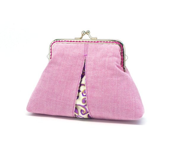 Lavender purple garden clutch purse