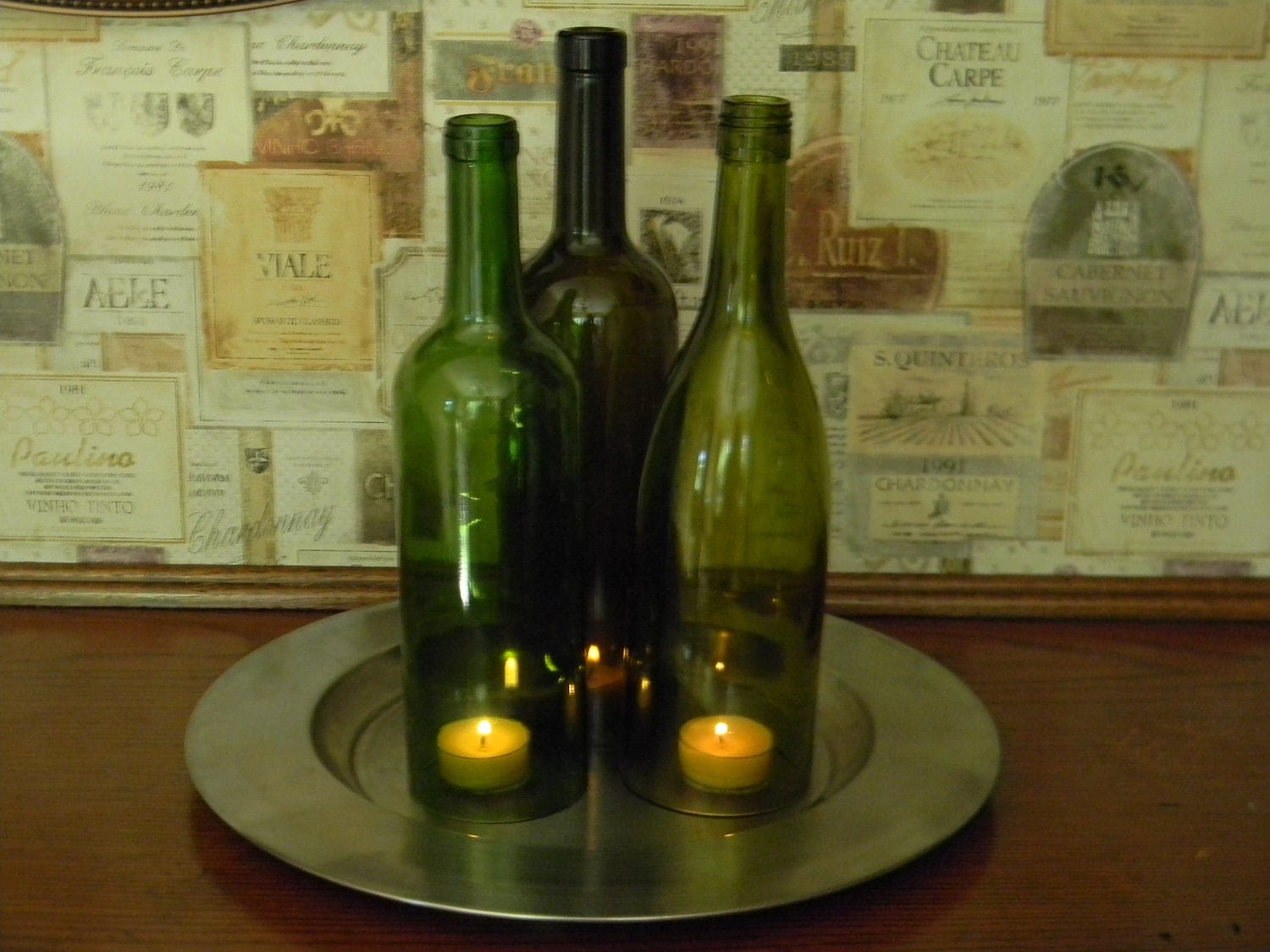 Items similar to simply elegant wine bottles centerpiece