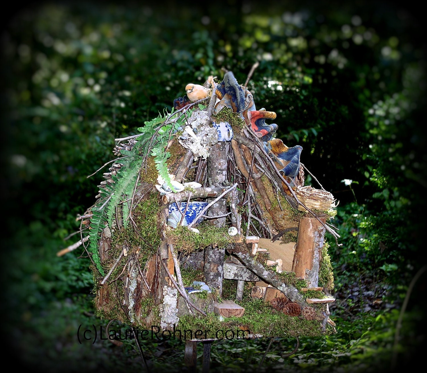Woodland Fairy House Sculpted Custom One of a Kind Fairy Furniture Two Stories Moss Twig House