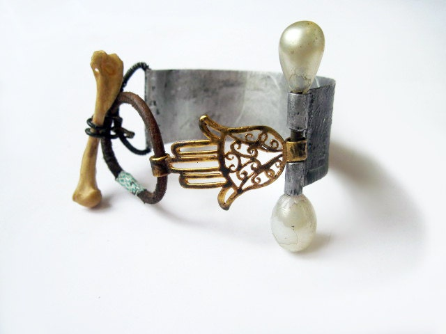 The Guiding Hand. Hamsa with pearl pin bone toggle and etched cuff.