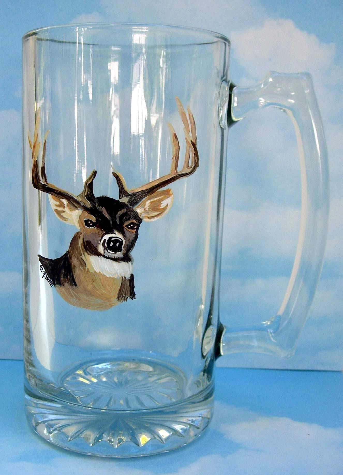 DEER BEER MUG - 25 oz hand painted Glass