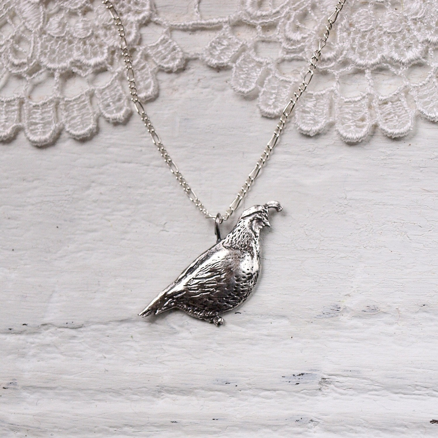 Sterling Silver Quail Necklace