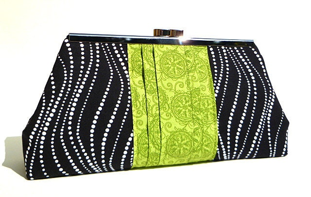 Clutch Bag - Black and Green Swirl